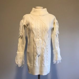 Romwe tunic sweater dress with fringes cable knit